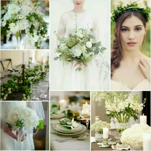 Bridal Style Board: Green & Ivory